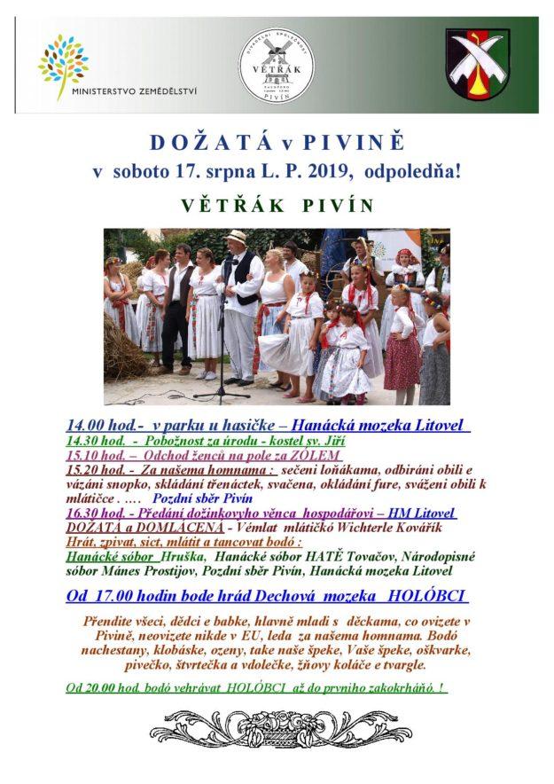 plakát Dožatá Pivín 2019
